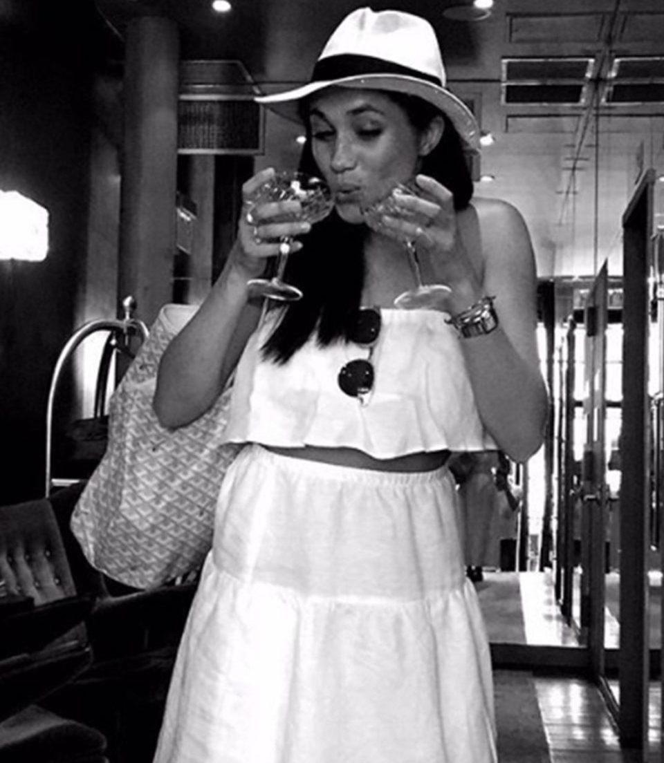 Meghan Markle Drinking Wine