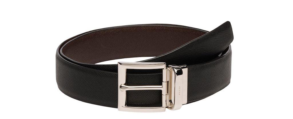 PRada Saffiano Cuir Leather Reversible Belt