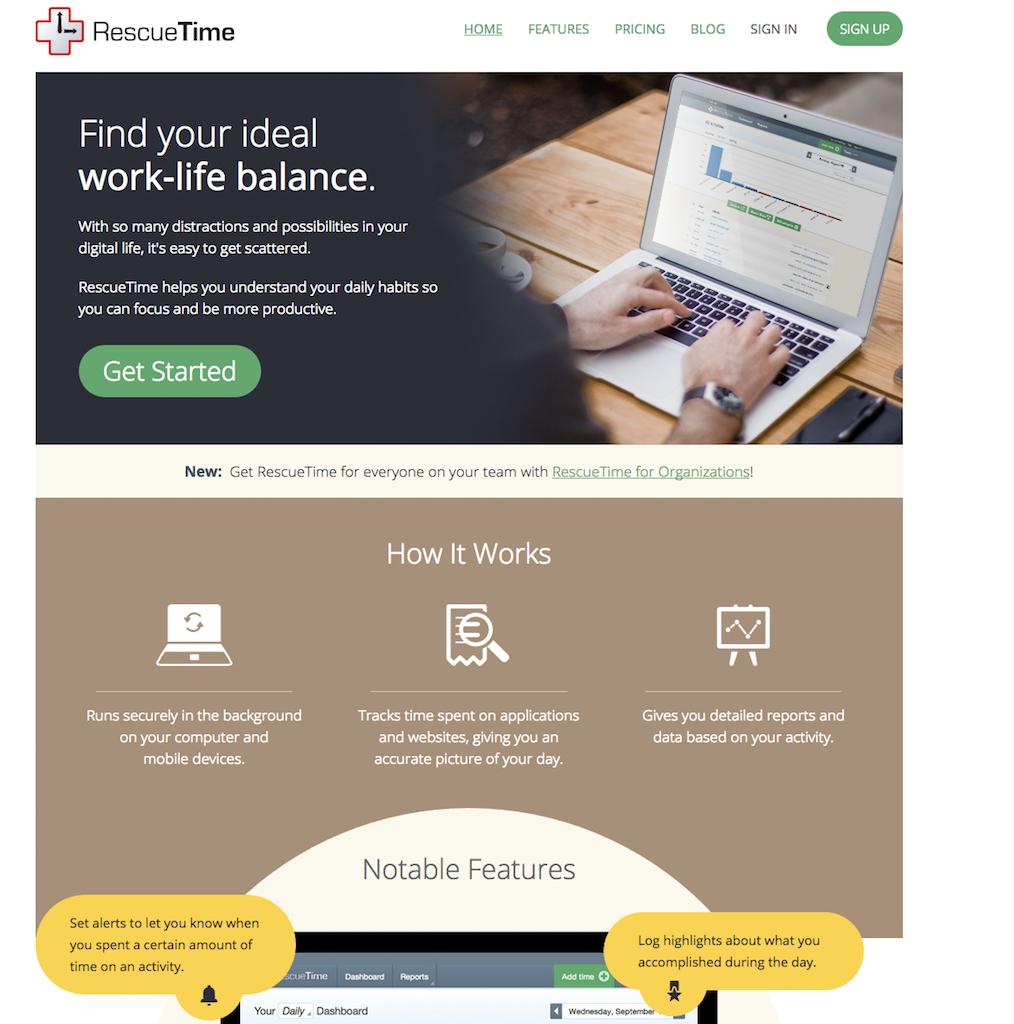 RescueTime Apps organizer apps