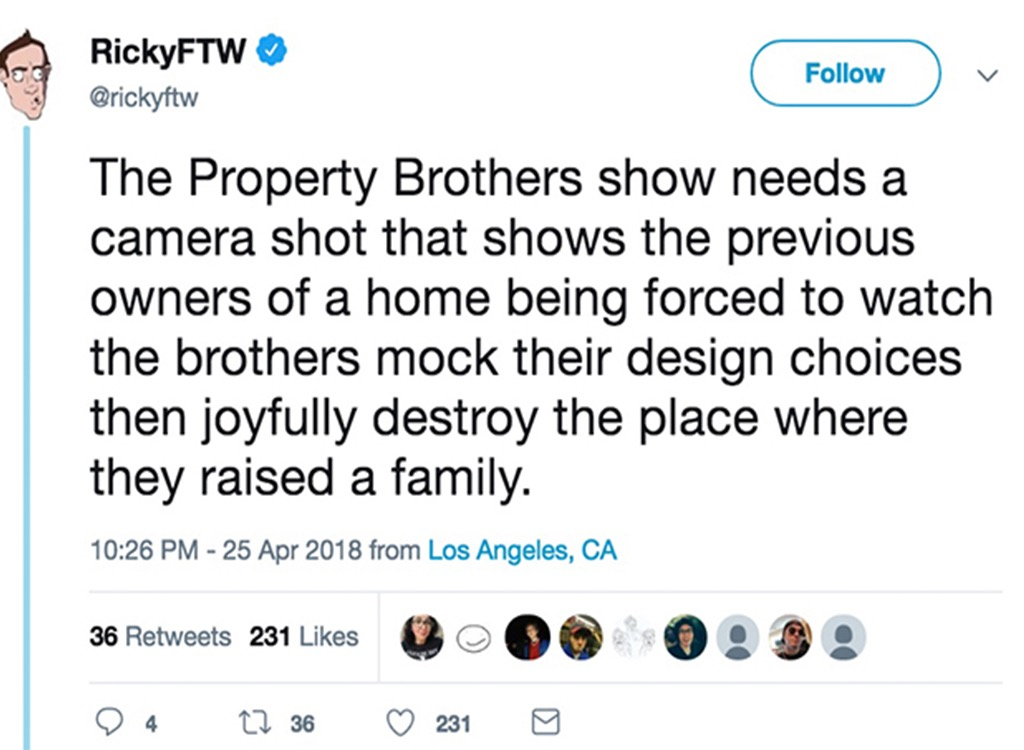 Property Brothers tweet funniest home design show jokes
