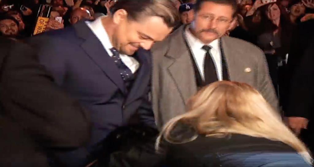Leonardo DiCaprio Getting an Awkward Hug