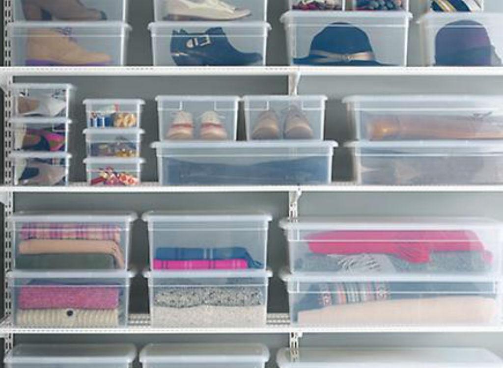 Plastic storage bins closet organizing