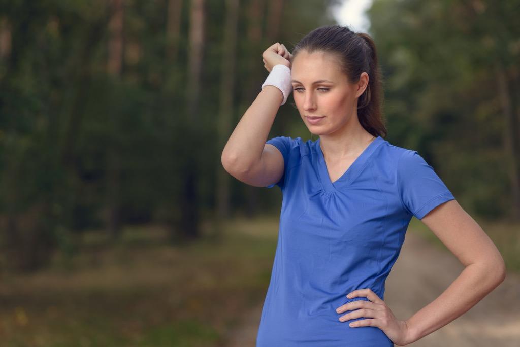 Woman exercising freezer clothing hacks