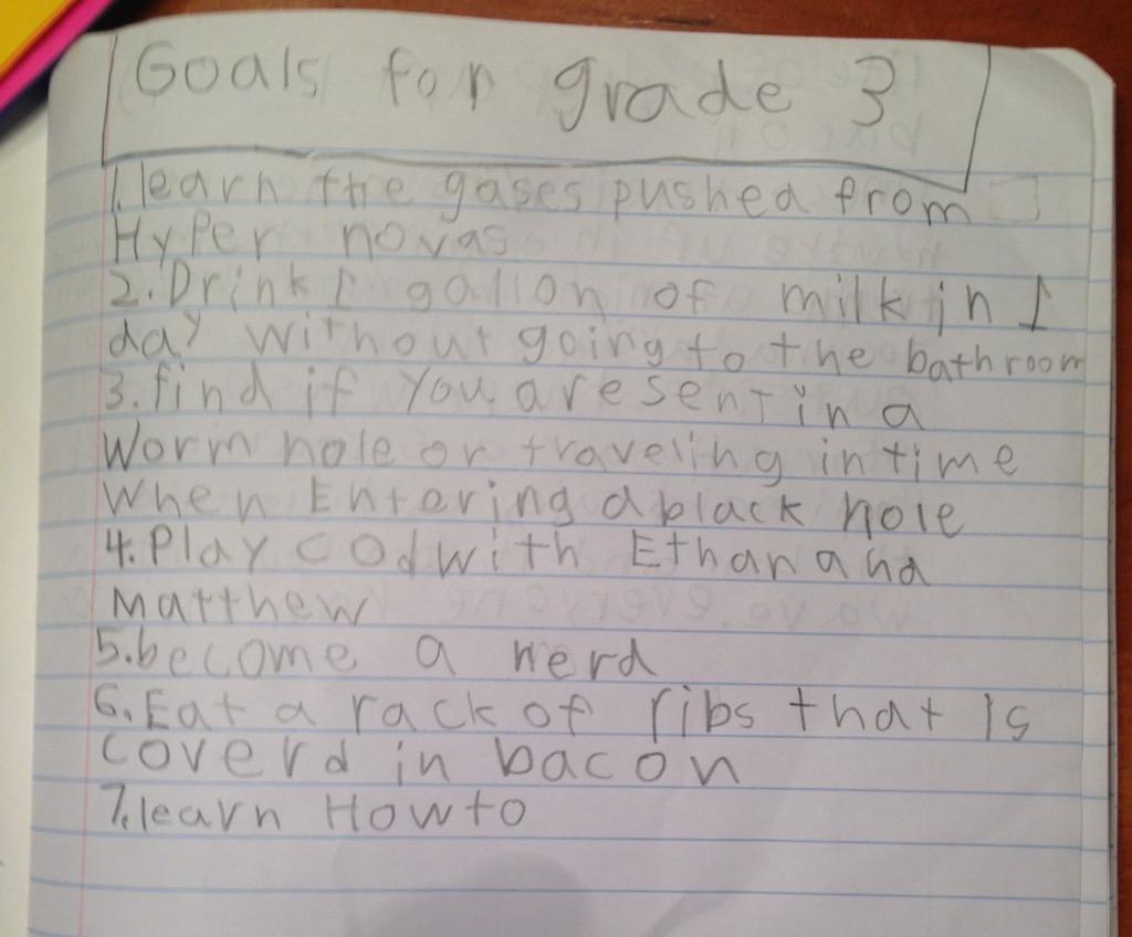 Third grade goals funny kid's assignments