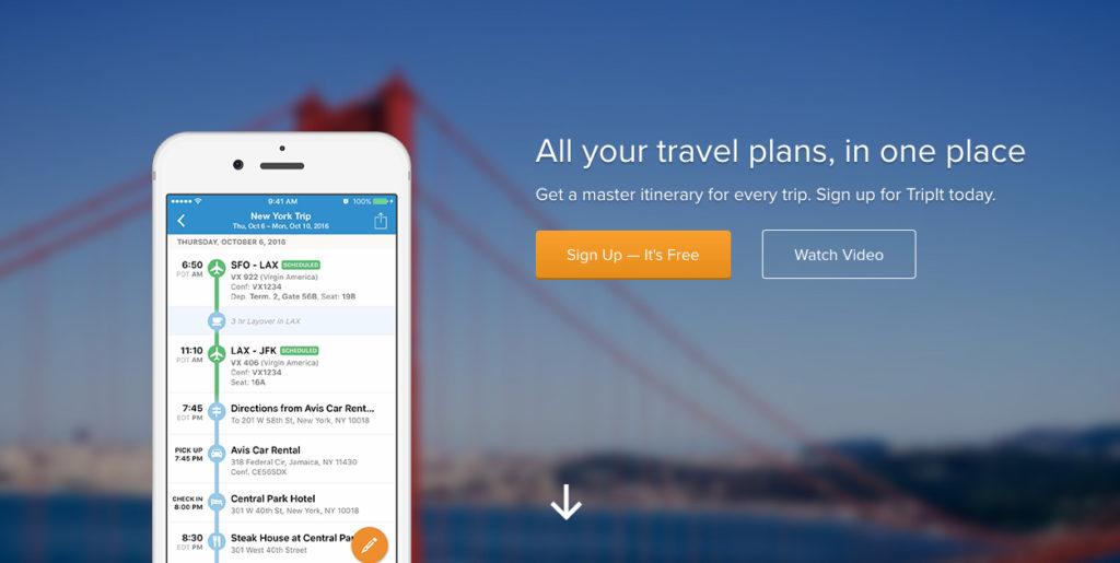 TripIt Apps organizer apps