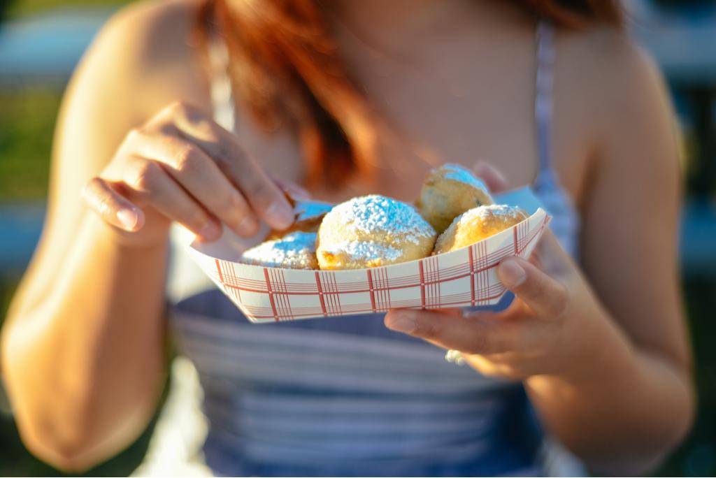 Woman Eating Fried Oreos Summer Fair
