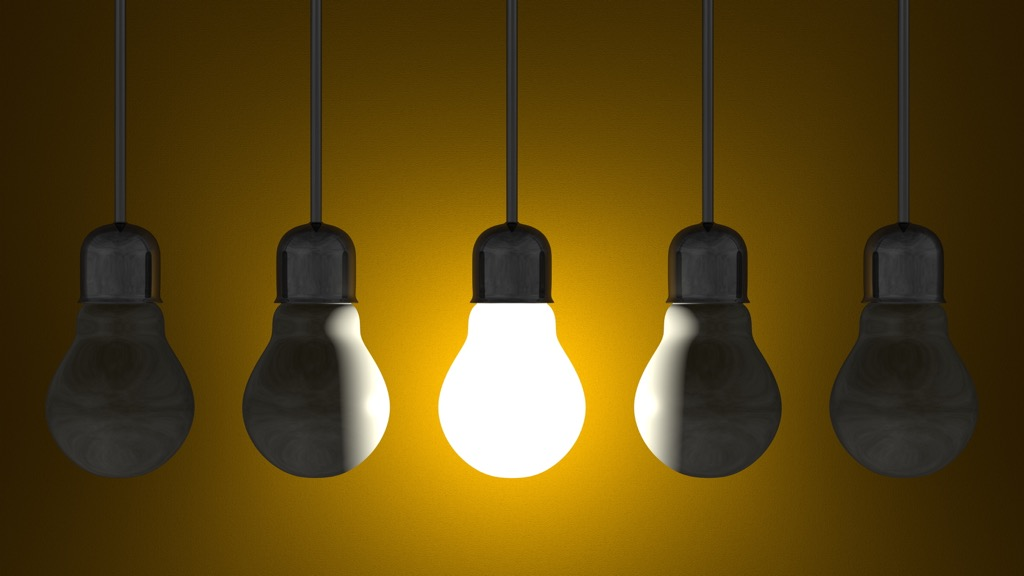lightbulbs against a yellow background