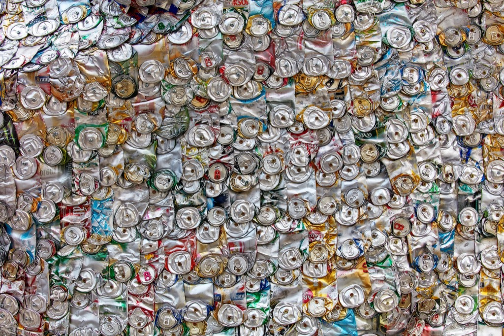 collected aluminum cans