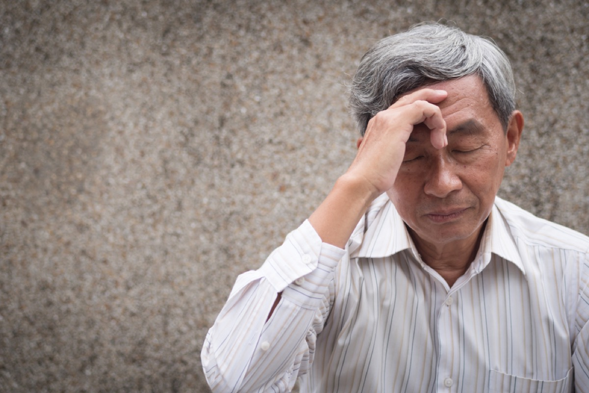 confused older asian man, alzheimer's, dementia, health issues over 50