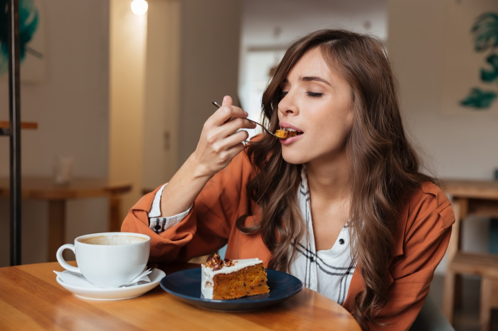 woman eating cake self-care tips
