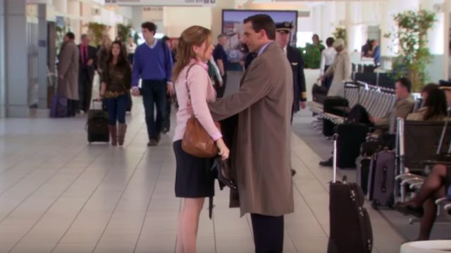 """Pam says goodbye to Michael at the airport in """"The Office."""""""