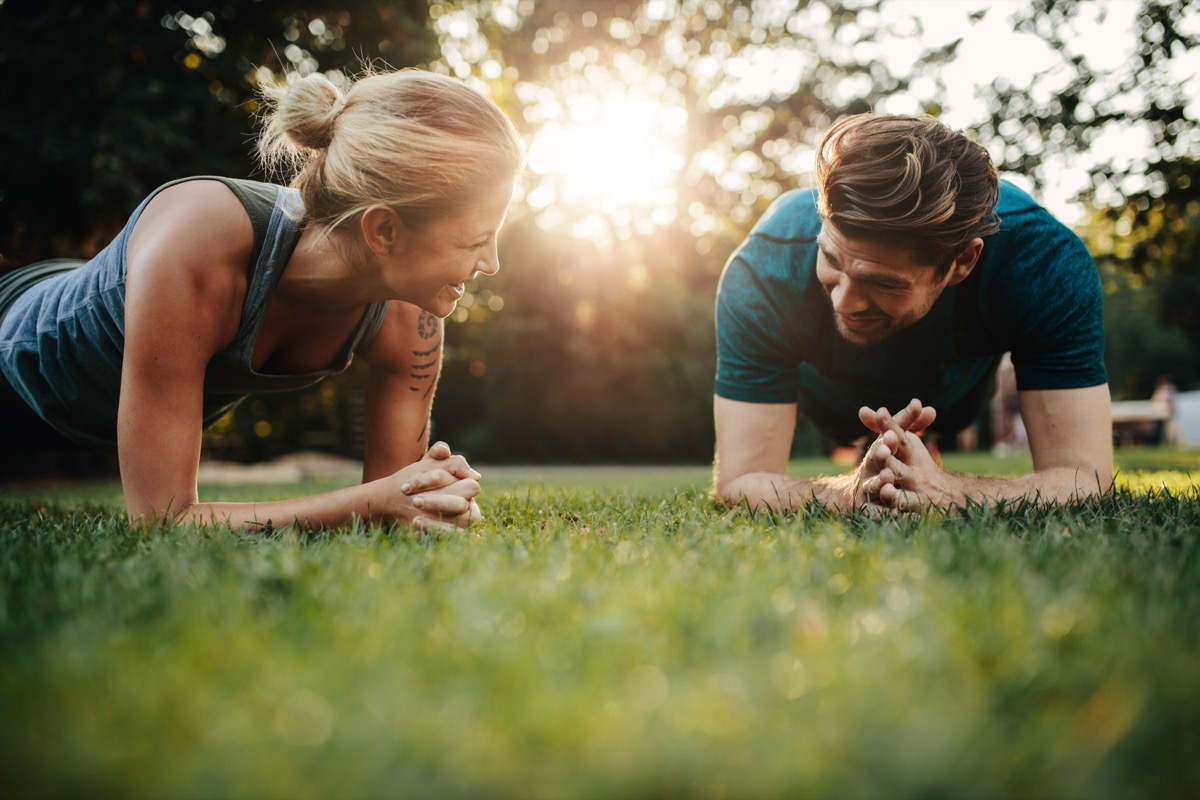 Man and woman working out new year's resolution motivated