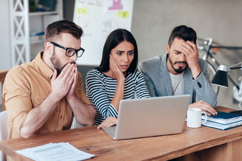 office man woman shocked appalled