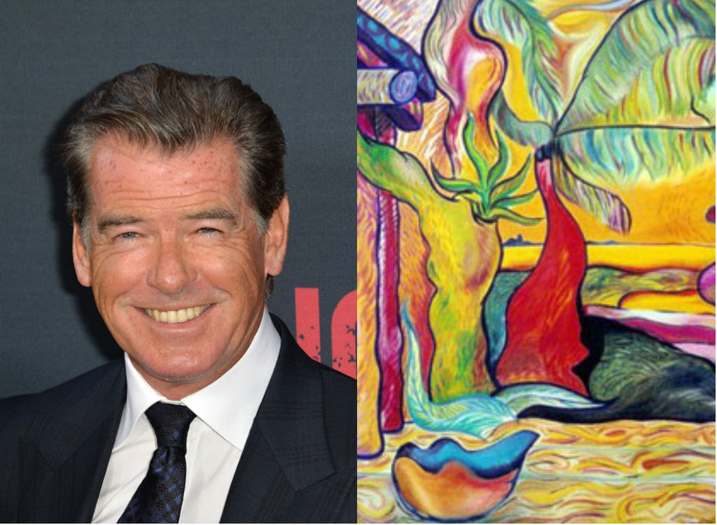 Pierce Brosnan painting