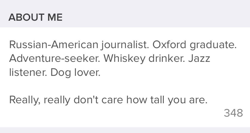 tinder profile bio