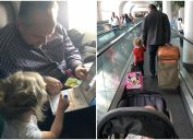 American Airlines passenger Todd Walker helps struggling mom Jessica Rudeen with her kids.