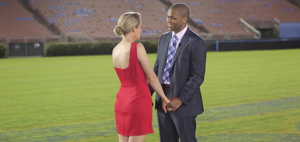 man proposes to woman at rose bowl stadium