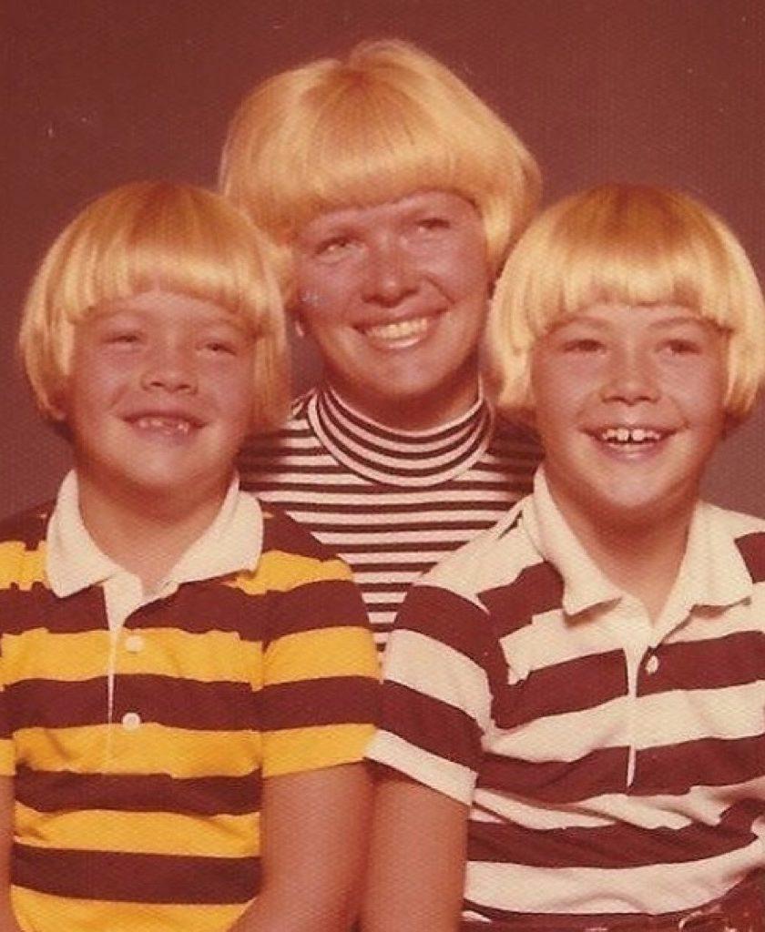 Bowl cut awkward family photo