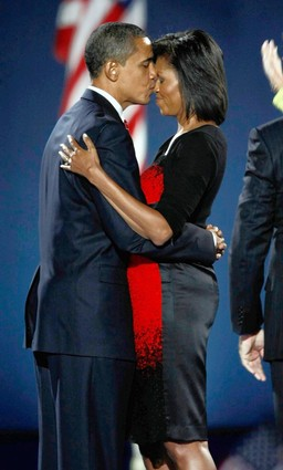 Barack and Michelle Obama Kiss Election Night 2008