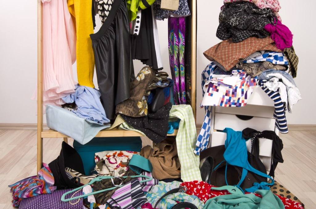 Messy, cluttered closet