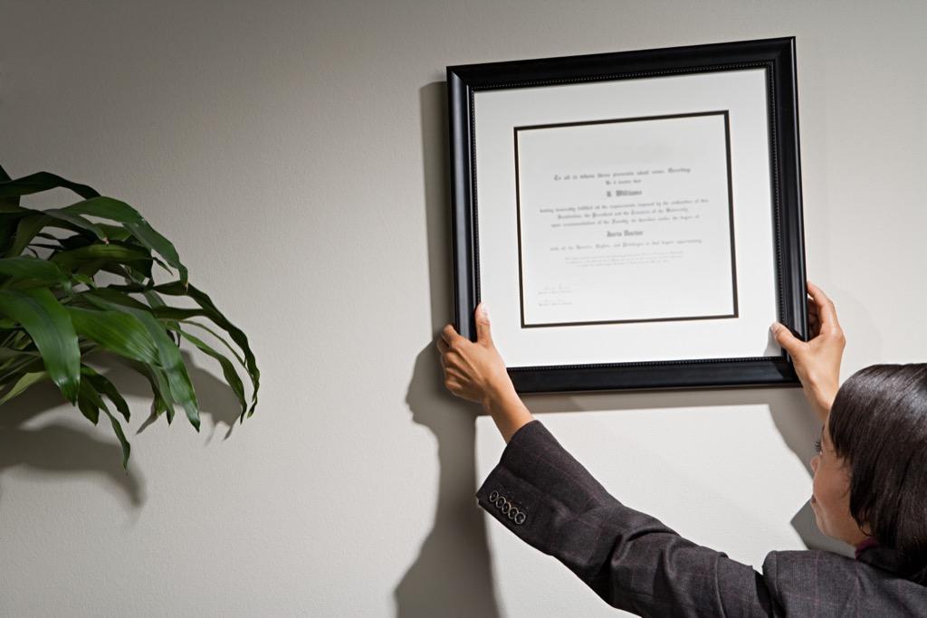 Diploma on the wall
