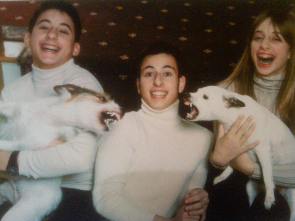 Dogs fighting during hilarious family photo