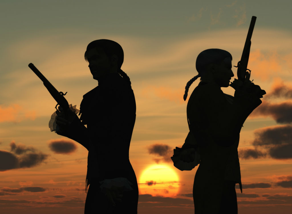 Two men in silhouette stand with their backs to each other, preparing to duel