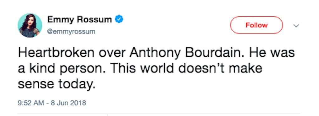 emmy rossum reacts to anthony bourdain death