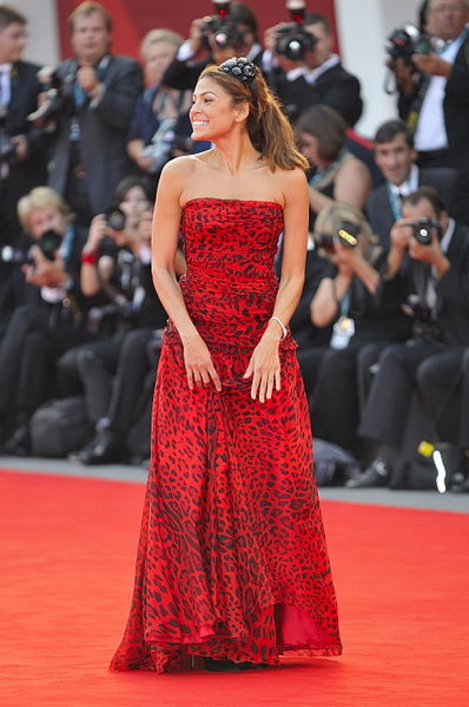 Eva Mendes leopard print animal red dress