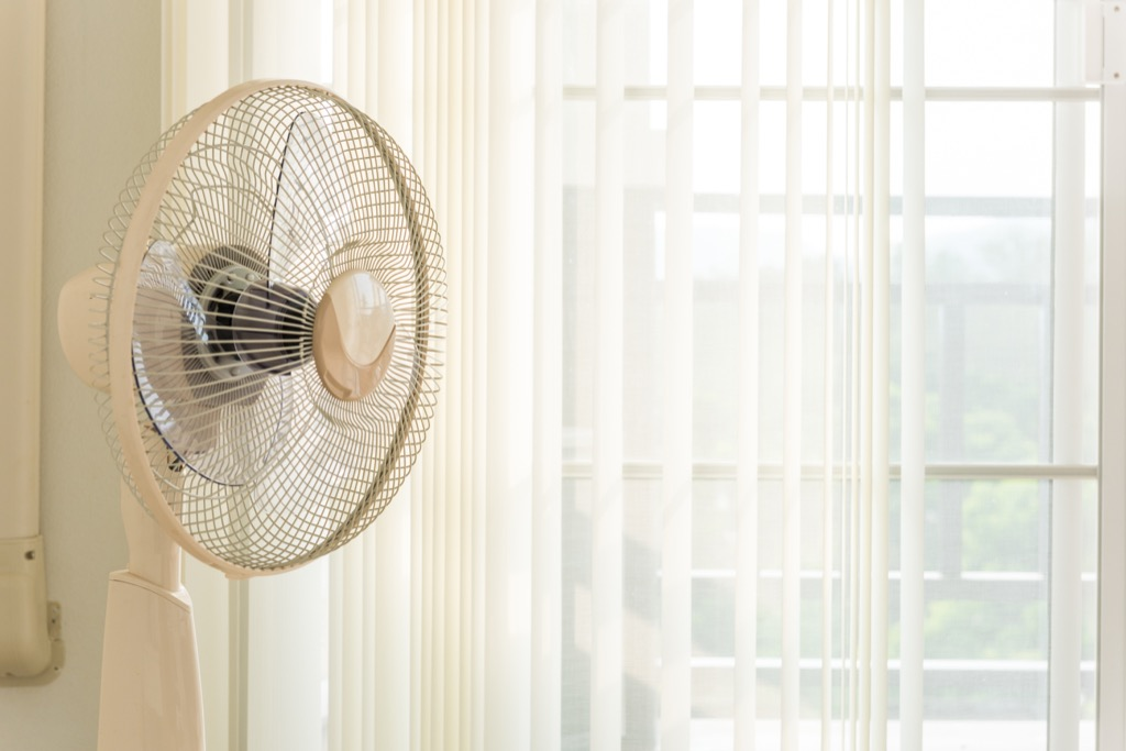 Fan blowing at the window, home problems