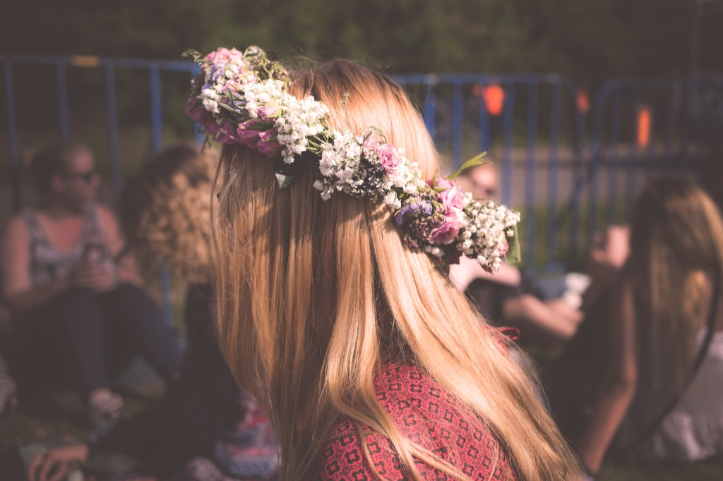 Flower crown in a woman's hair