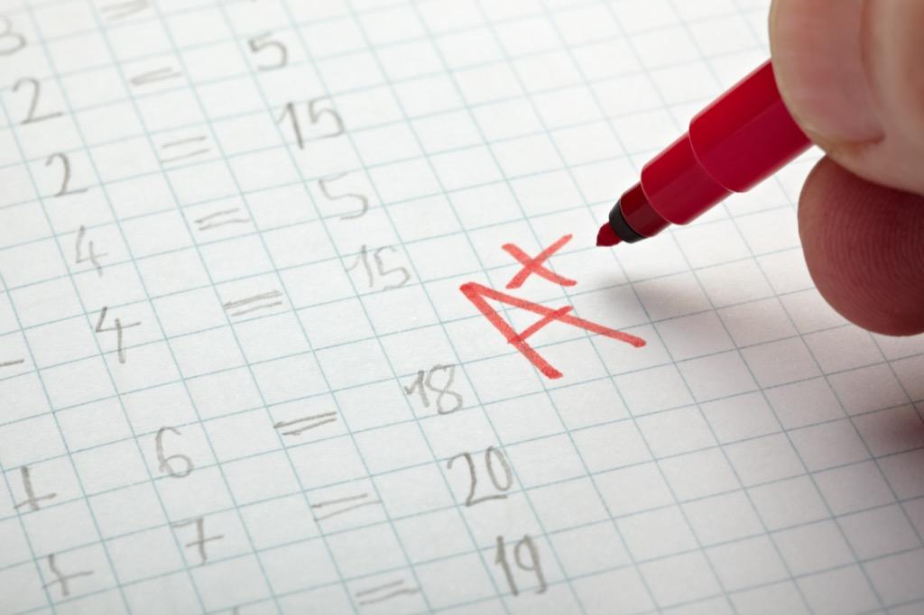 A+ grades report card school