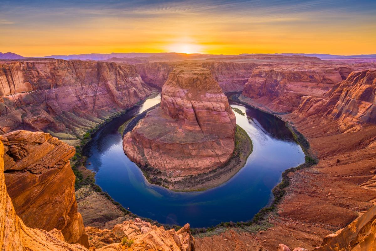 sunset at horseshoe bend at the grand canyon