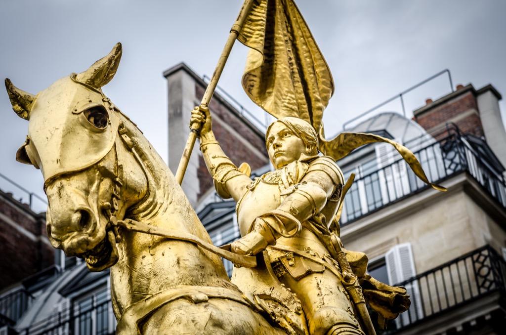 Joan of Arc statue on the Rue de Rivoli in Paris, France