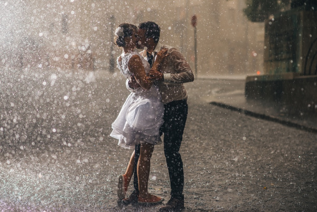 Making out rainstorm movie cliches
