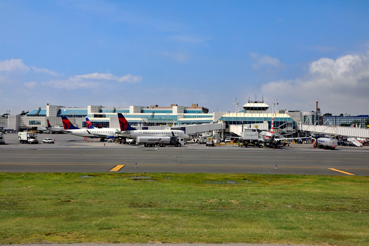 the exterior of laguardia airport viewed from the hangar