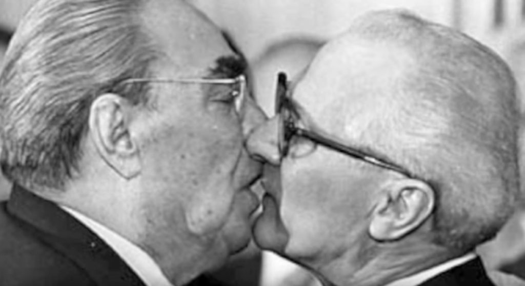 Leonid Brezhnev and Erich Honecker Kiss