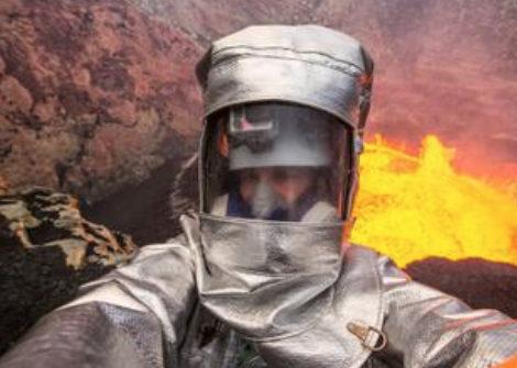 Man Active Volcano Selfies