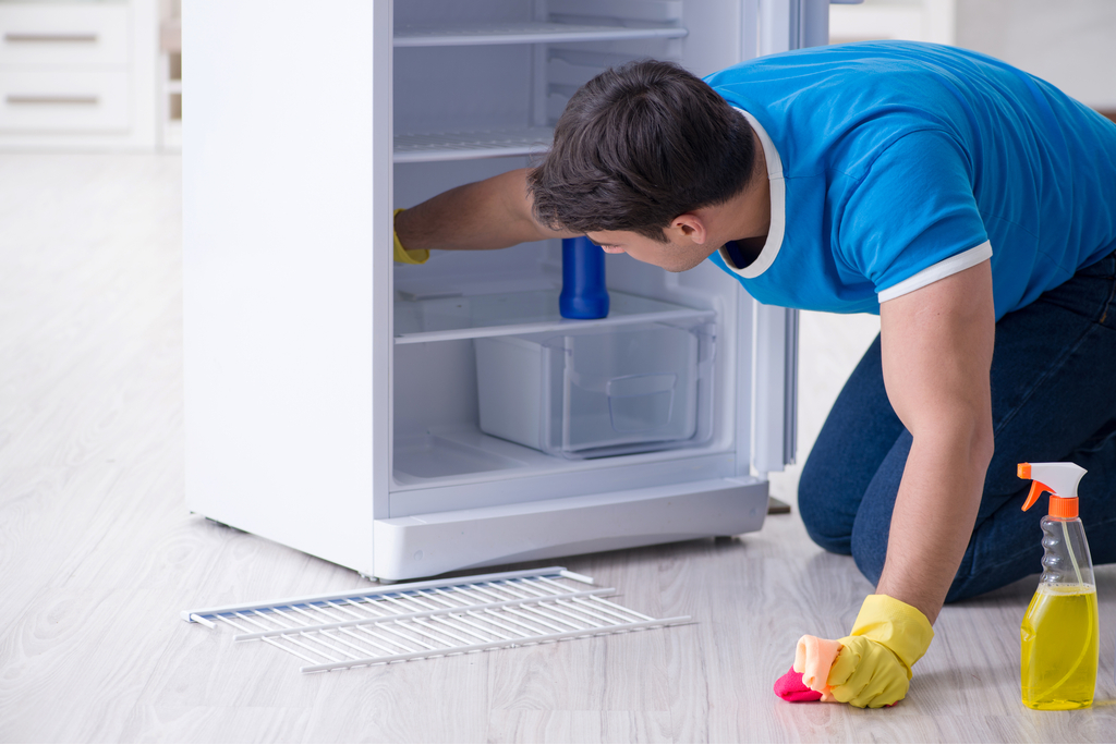 Man Cleaning Fridge