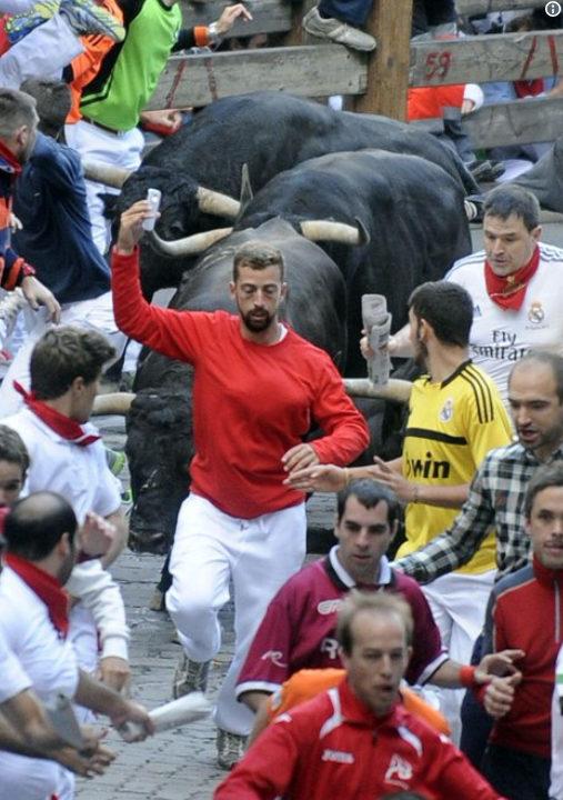 Man Running of the Bulls Selfies