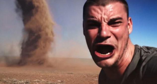 Man Tornado Selfie