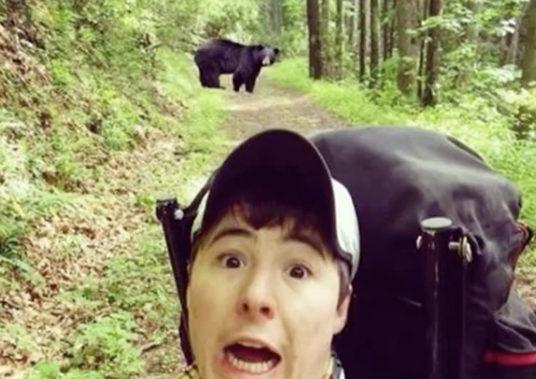 Man with Bear Selfies