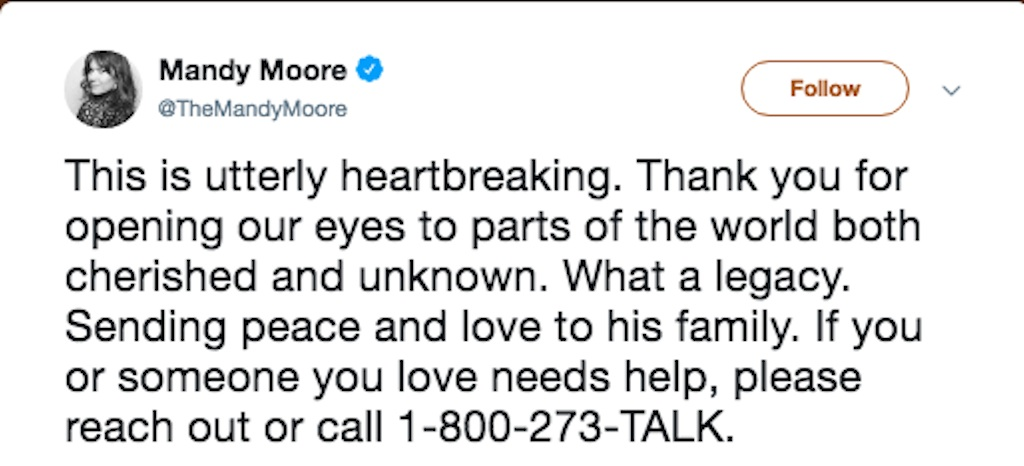 mandy moore reacts to anthony bourdain death