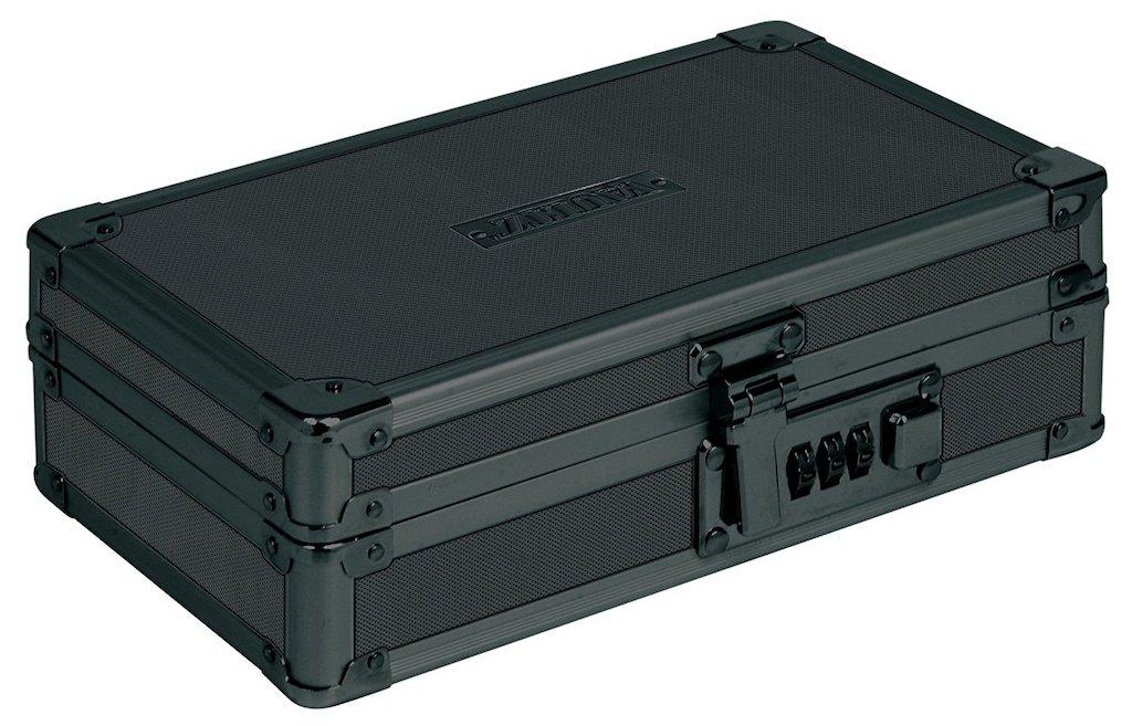 Vaultz Locking Utility Box with Combination Lock, Black on Black