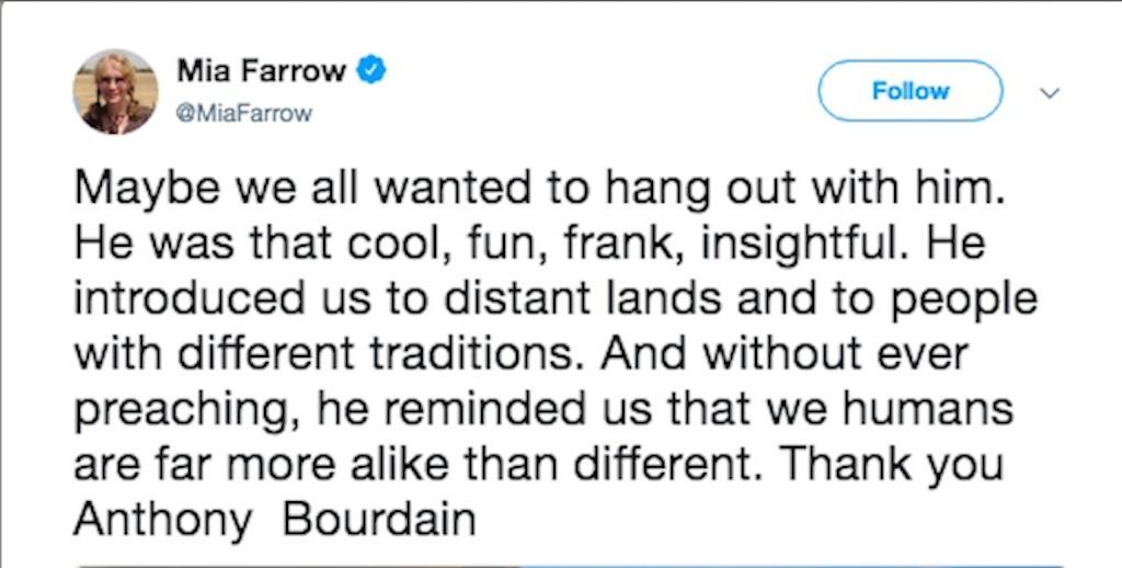 mia farrow pays tribute to anthony bourdain