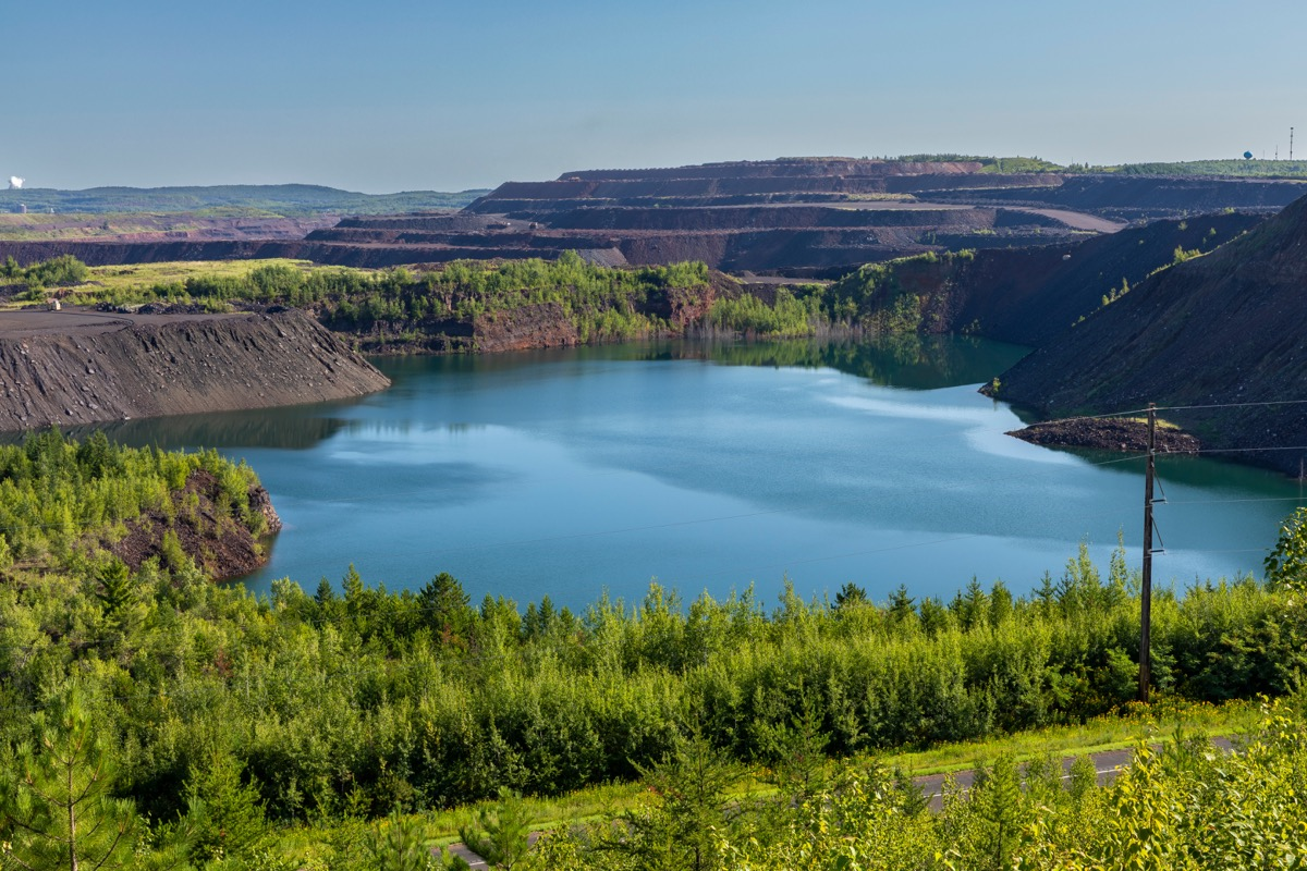 blue lake in old ore mine