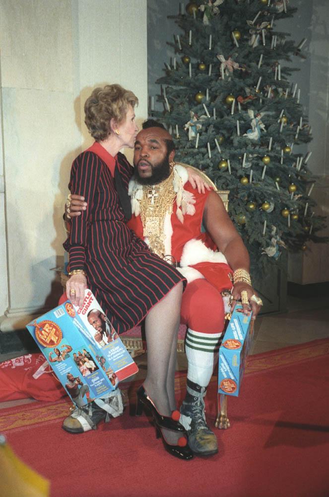 Nancy Reagan Kisses Mr. T