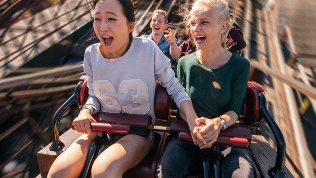 people screaming on roller coaster