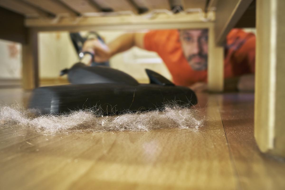 person vacuuming pet hair under sofa