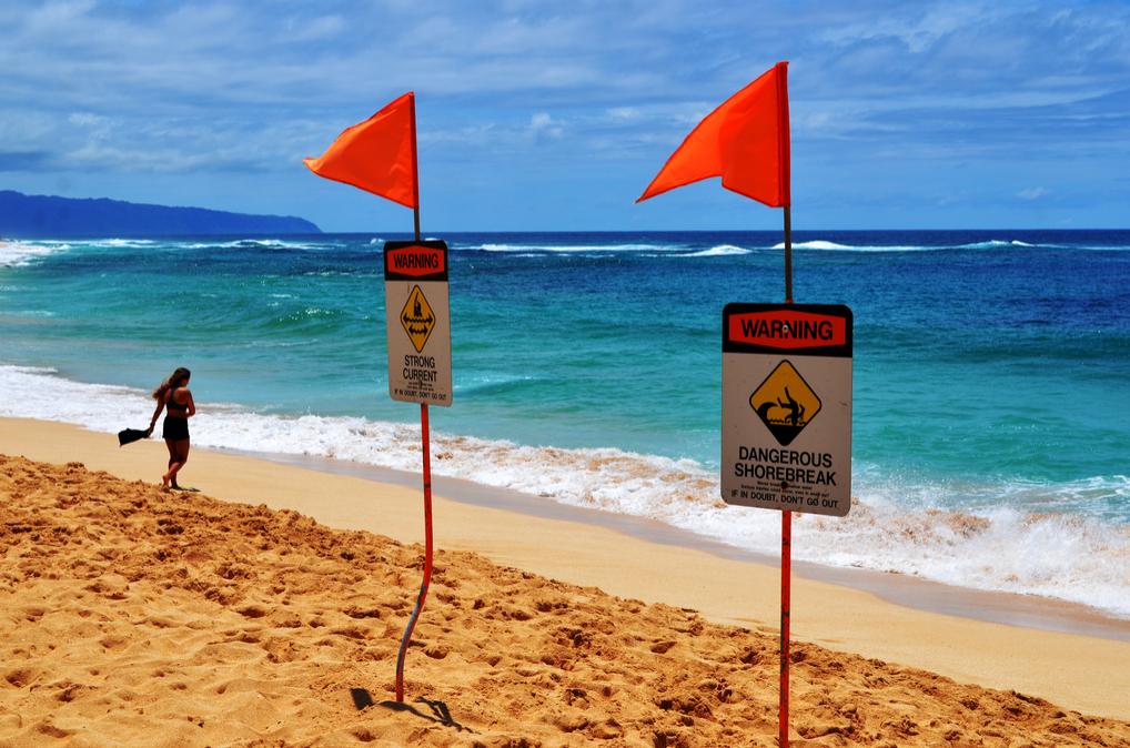 Rip Currents on Beach Ocean